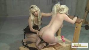 Mean Mistress binds and punishes her blonde slave slut