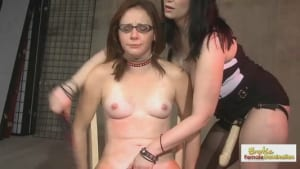 Cute geeky redhead is whipped and tickled before sucking Mistress' strap-on