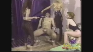 Three busty chicks taking care of a long fat dick