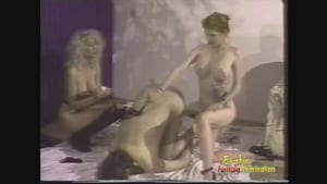 Young dude gets punished with whips by two busty chicks