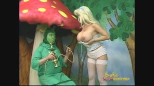 Busty blonde wraps a naughty guy in foil