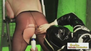 Masked dom punishes his sexy, pantyhose-wearing slave