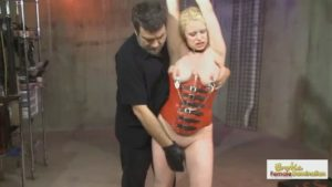 Sexy slave orgasms when her Master fists her smooth pussy
